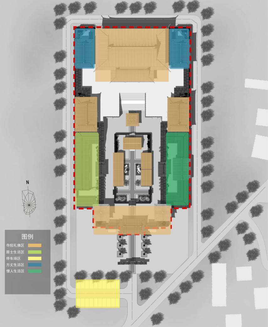项目位置:北京丰台 设计时间:2017年8月 规划用地面积:12.3亩 建筑设计面积:9957平方米 委托方:北京丰台达园寺 设计单位:北京德鲁安建筑规划设计院 历史文化篇  达园寺位于北京市丰台区花乡于家胡同,据考证为清代建筑,1999年丰台区政府将其公布为区级文物保护单位。  达园寺在西南三环以里不足一里。由夏家胡同公交站下车,沿公交站旁边的柳村路前行二百米,就可以看到位于路左侧的达园寺山门了。达园寺位于金中都丽泽门东南。  达园寺座北朝南,尚存正殿、东西配殿。2008年,丰台区政府投资50万元对该寺
